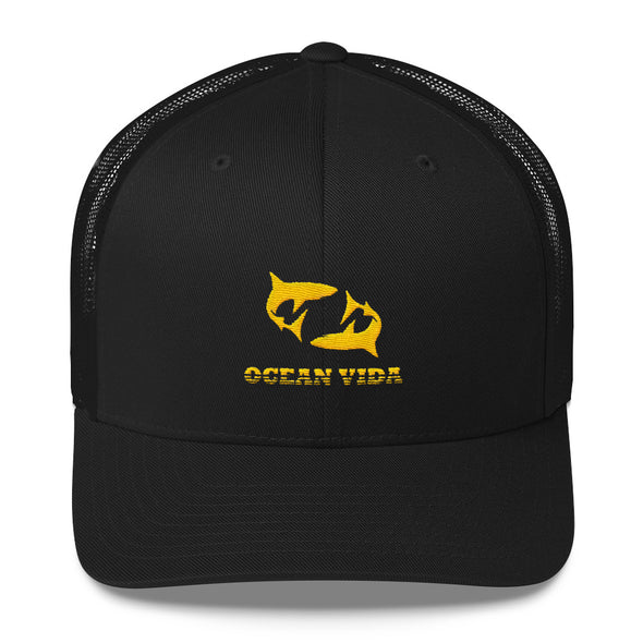 Black Outdoor Trucker Cap with Yellow Logo