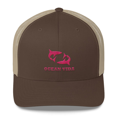 Brown and Sand Outdoor Trucker Cap with Pink Logo