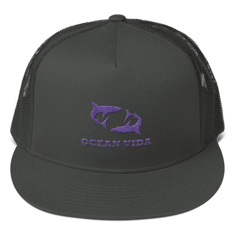 Charcoal Foam Trucker Cap with Purple Logo