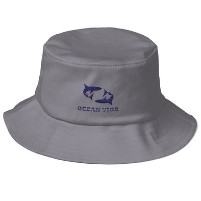 Gray Old School Bucket Hat with Navy Logo