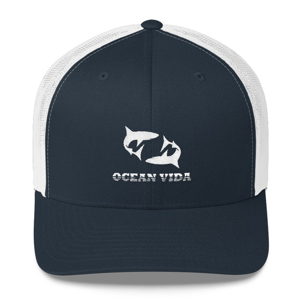 Navy and White Outdoor Trucker Cap with White Logo