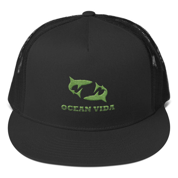 Black Foam Trucker Cap with Moss Green Logo