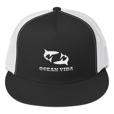 Black and White Foam Trucker Cap with White Logo