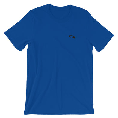 Royal Blue T-Shirt with Embroidered Black Sharks