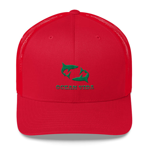 Red Outdoor Trucker Cap with Seaweed Green Logo