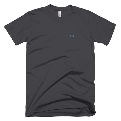 Black T-Shirt with Embroidered Aqua Sharks