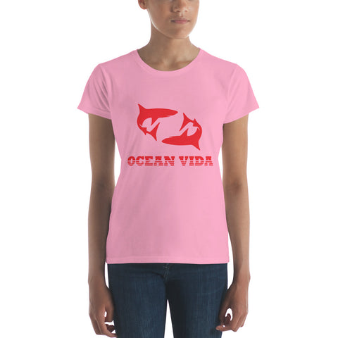 Women's Short Sleeve T-Shirt with Red Logo