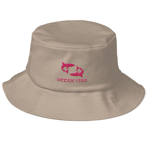 Sand Old School Bucket Hat with Pink Logo