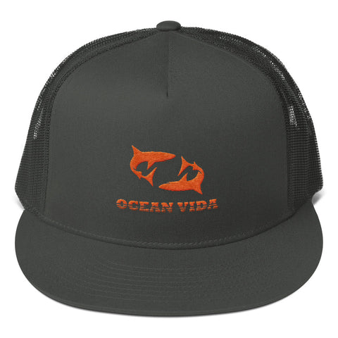 Charcoal Foam Trucker Cap with Orange Logo