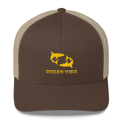 Brown and Sand Outdoor Trucker Cap with Yellow Logo