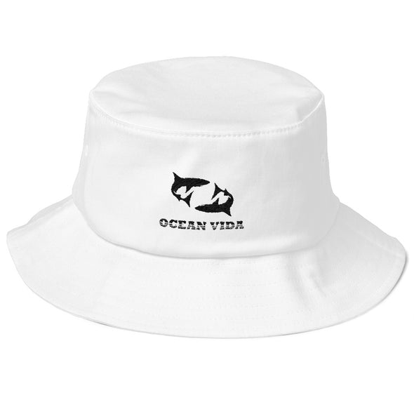 White Old School Bucket Hat with Black Logo