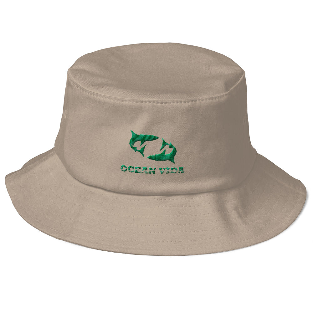 Sand Old School Bucket Hat with Seaweed Green Logo