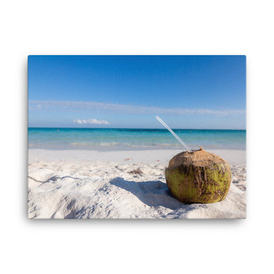 Coconut Drink on Beach - Canvas