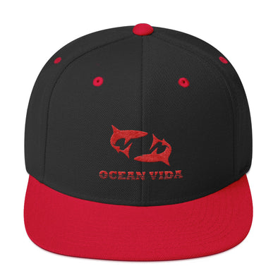 Black and Red Wool Snapback with Red Logo