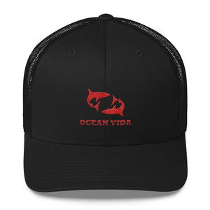 Black Outdoor Trucker Cap with Red Logo
