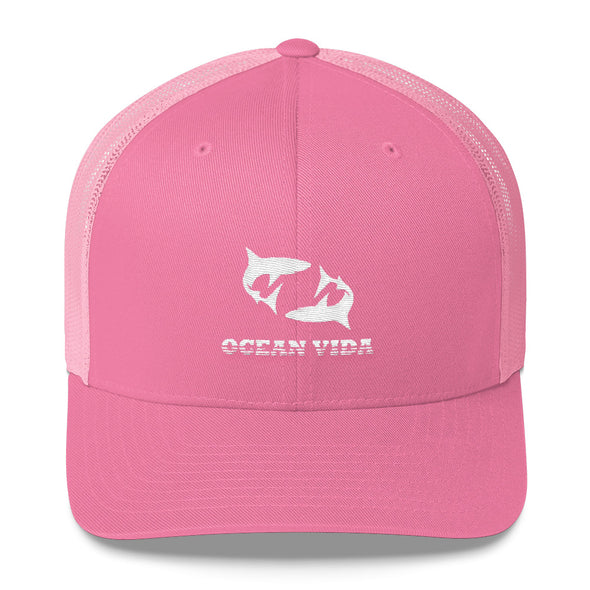 Pink Outdoor Trucker Cap with White Logo