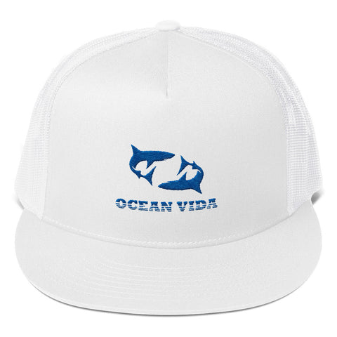 White Foam Trucker Cap with Blue Logo