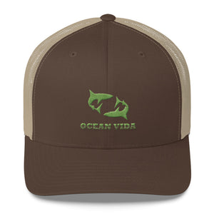 Brown and Sand Outdoor Trucker Cap with Moss Green Logo