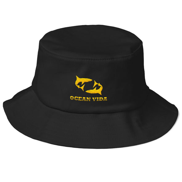 Black Old School Bucket Hat with Yellow Logo