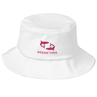 White Old School Bucket Hat with Pink Logo