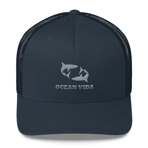 Navy Outdoor Trucker Cap with Gray Logo