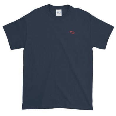 Navy T-Shirt with Embroidered Red Sharks