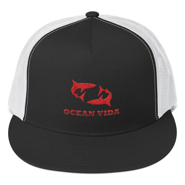 Black and White Foam Trucker Cap with Red Logo