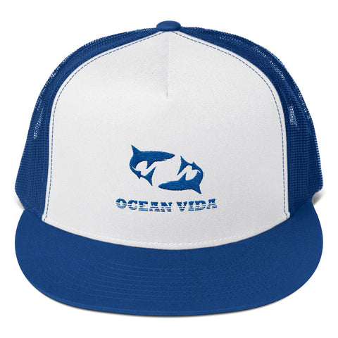 Blue Foam Trucker Cap with Blue Logo