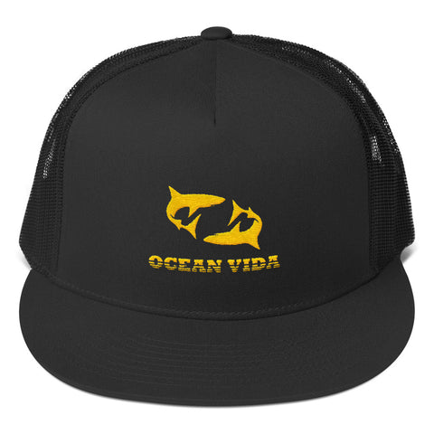 Black Foam Trucker Cap with Yellow Logo