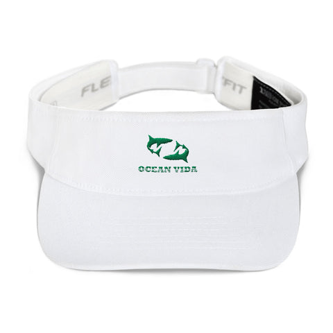White Visor with Seaweed Green Logo