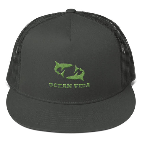 Charcoal Foam Trucker Cap with Moss Green Logo
