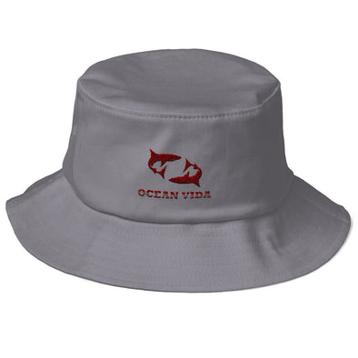 Gray Old School Bucket Hat with Maroon Logo