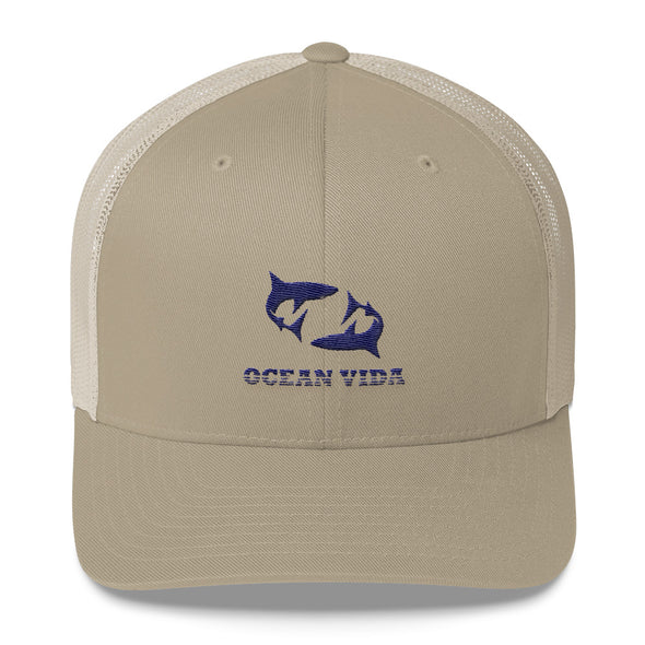Sand Outdoor Trucker Cap with Navy Logo