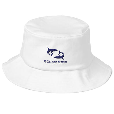 White Old School Bucket Hat with Navy Logo