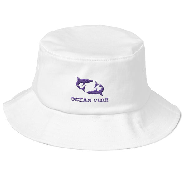 White Old School Bucket Hat with Purple Logo