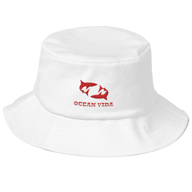 White Old School Bucket Hat with Red Logo