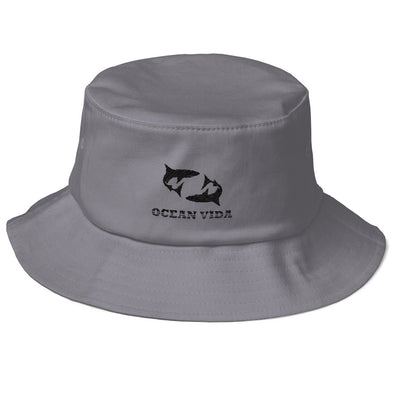 Gray Old School Bucket Hat with Black Logo