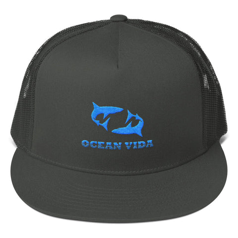 Charcoal Foam Trucker Cap with Sky Blue Logo