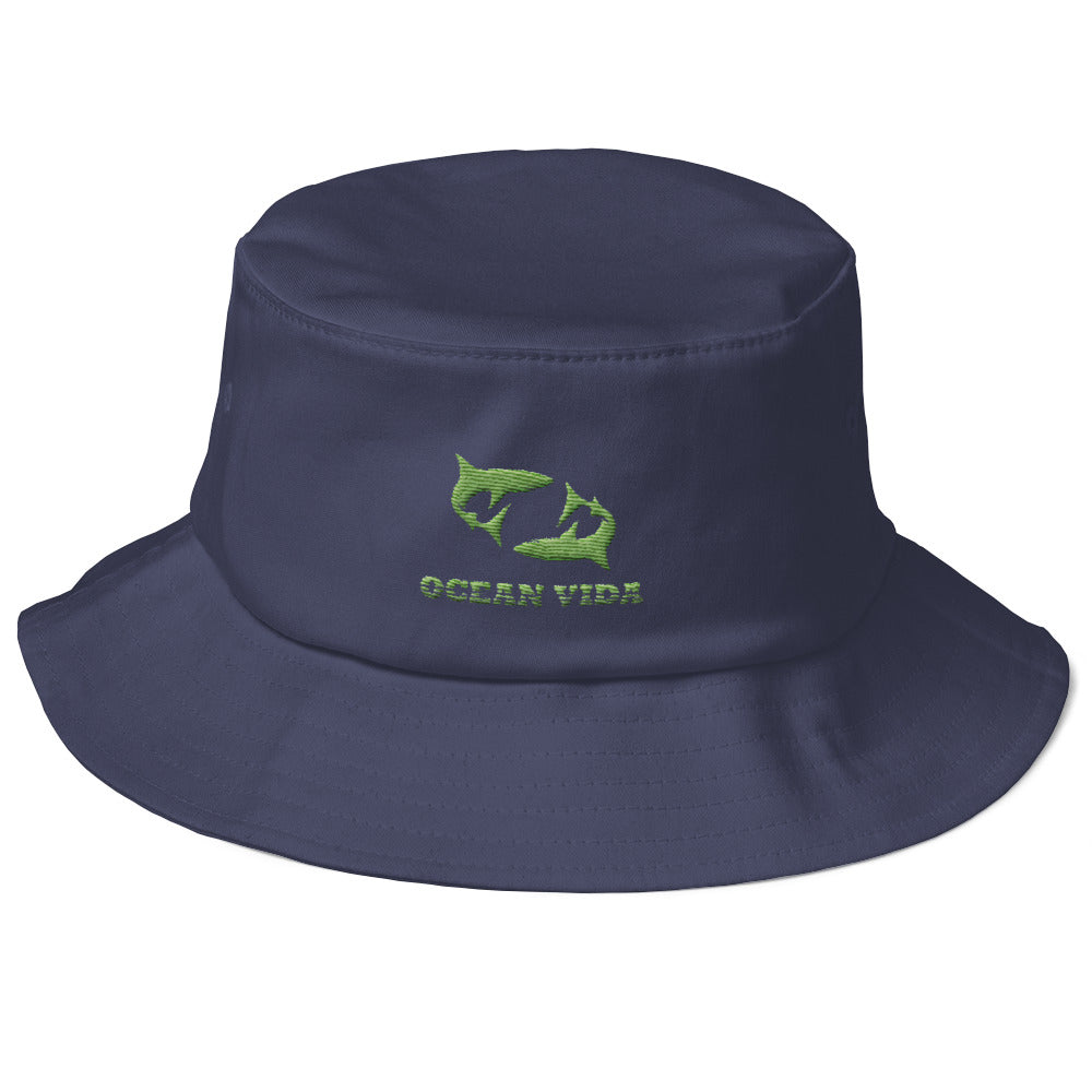 Navy Old School Bucket Hat with Moss Green Logo