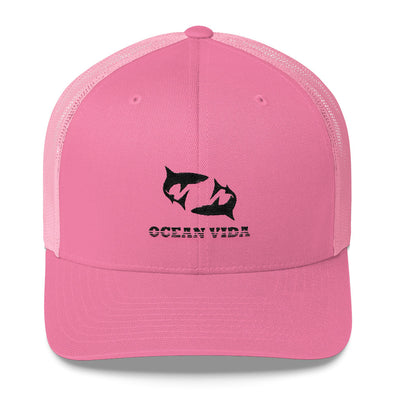 Pink Outdoor Trucker Cap with Black Logo