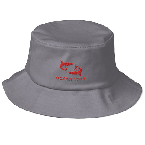 Gray Old School Bucket Hat with Red Logo