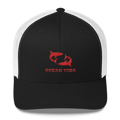 Black and White Outdoor Trucker Cap with Red Logo