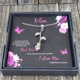 To mom rose necklace in gift box with love you design card