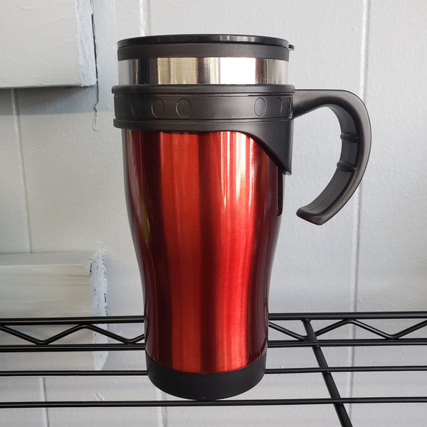 Red stainless steel coffee travel mug