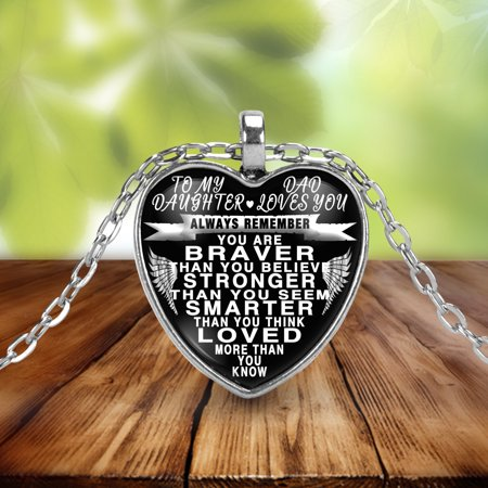 To my daughter from dad - always remember quote pendant necklace
