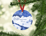 Round double sided aluminum ornament - Christmas, add photos or designs