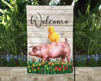 12x18 garden flag, welcome with a cute pig and duck design