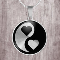 Yin Yang design with hearts stainless steel round pendant necklace