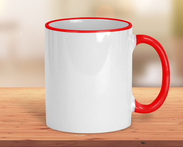 Coffee mug, 11 oz ceramic with red handle, rim accents