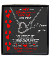 To my gorgeous wife, I love you double heart silver necklace